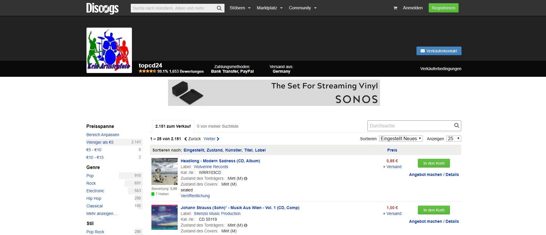In Deutschland noch wenig bekannt – Discogs